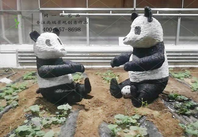 稻草工艺品动物熊猫造型