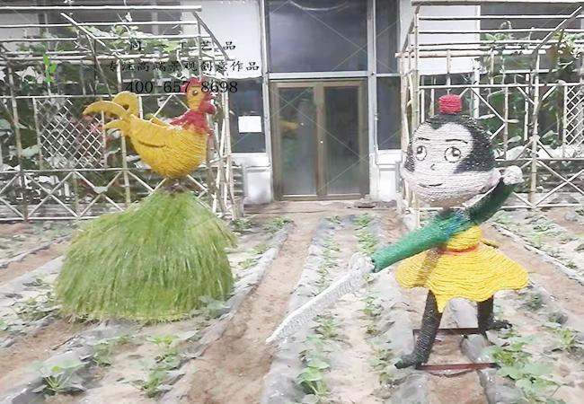稻草工艺品寓言故事闻鸡起舞组合造型